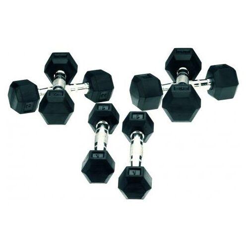 Hatszögletű gumírozott fix súlyzókészlet 12-30 kg-ig (10 pár)